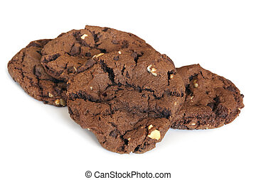 Double chocolate chip fudge cookies, isolated on white.