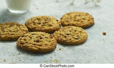 Chocolate chip cookies in closeup - Closeup shot of sweet...