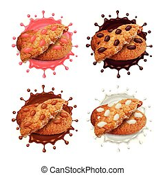 Chocolate chip cookies in milk and chocolate splashes 3d vector set