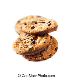 Chocolate chip cookies isolated on white background close up...