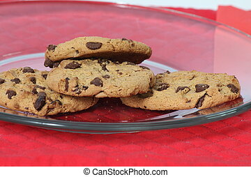 Chocolate Chip cookies on a plate for the holidays, ready...