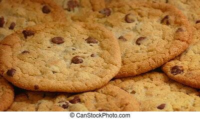 Chocolate Chip Cookies Pile Rotating - Closeup of tasty choc...