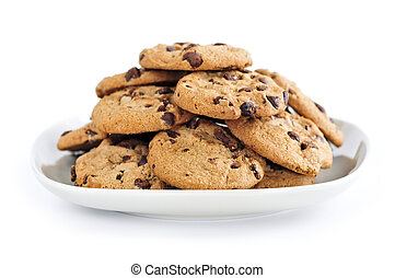 Chocolate chip cookies - Plate of chocolate chip cookies ...