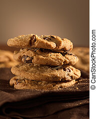 chocolate chip cookies shot with selective focus.
