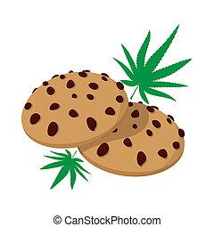 Chocolate chip cookies with marijuana lea icon in cartoon...