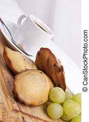 chocolate chip madeleine and coffee