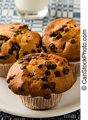 fresh chocolate chip muffins on a white plate