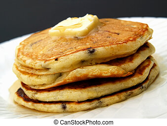 chocolate chip pancakes - stack of chocolate chip pancakes...