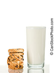 Chocolate chips cookie and milk on white background