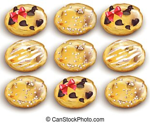 Chocolate chips cookies set Vector