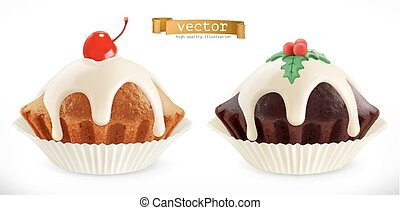 Chocolate christmas cupcake, fairy cake with cherry. 3d realistic vector icon