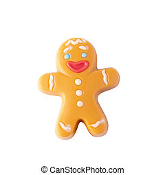 Chocolate Christmas gingerbread man isolated over white background