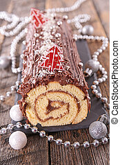 chocolate christmas log