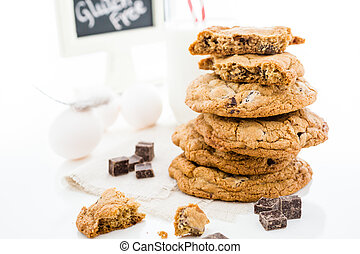 Gluten free chocolate chunk cookies with glass of milk.