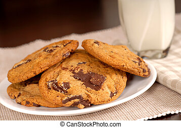 Chocolate chunk cookies with a glass of milk