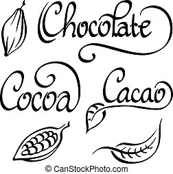 chocolate, cocoa, cacao text