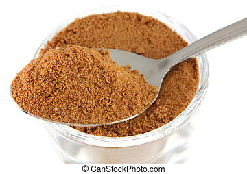 Chocolate (cocoa) extract - Closeup photo : a tablespoon of ...
