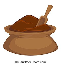 Chocolate cocoa powder in bag with spoon vector