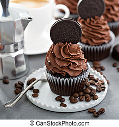 Chocolate coffee cupcakes with dark frosting