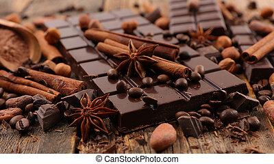 chocolate, com, canela
