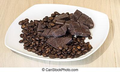 chocolate, com, feijões café, ligado, um, prato branco