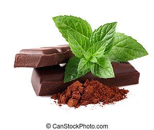 chocolate, com, hortelã