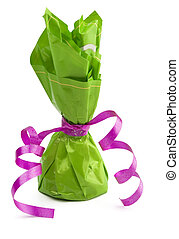 Chocolate cone candy wrapped in green
