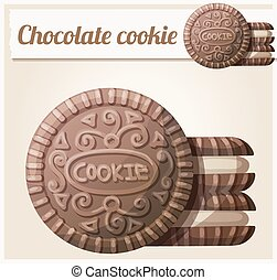 Chocolate cookie 2. Detailed vector icon