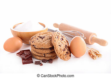 chocolate cookie and ingredient