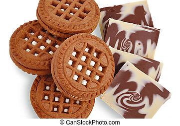 chocolate cookie and milk chocolate