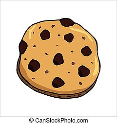 Chocolate cookie with on white background