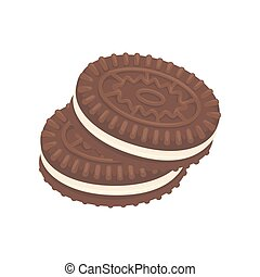 Chocolate cookies dessert vector icon - Cookies or chocolate...