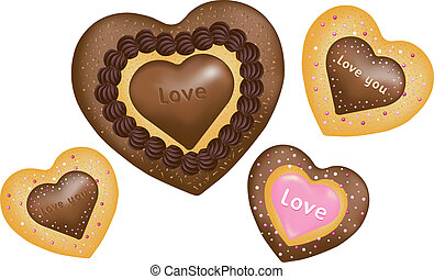 Chocolate Cookies. Hearts shape - Chocolate cookies with...
