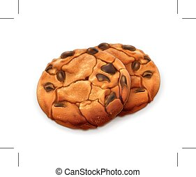 Chocolate cookies illustration - Chocolate cookies, vector...