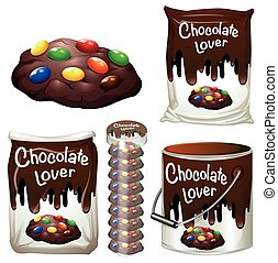 Chocolate cookies in many packaging illustration