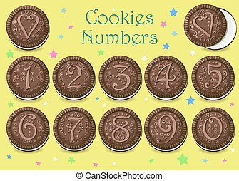 Chocolate Cookies Numbers - Chocolate Round Cookies with...