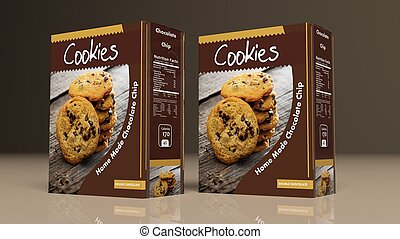 Chocolate cookies packages. 3d illustration