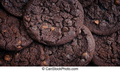 Chocolate Cookies Pile Rotating - Double chocolate cookies...