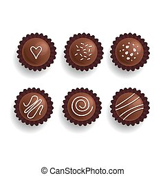 Chocolate cookies set. Sweet candies. Isolated on white....