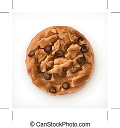 Chocolate cookies, vector icon