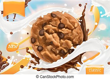 Chocolate cookies. White milk splash. 3d realistic vector,...