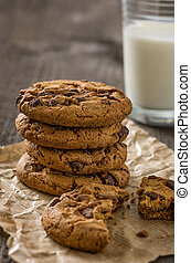 Chocolate cookies with a glass of milk