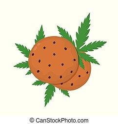 Chocolate cookies with marijuana leaf. Vector flat cartoon...
