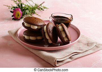 chocolate cookies with marshmallows for dessert