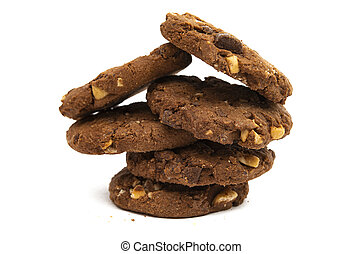 chocolate cookies with nuts isolated
