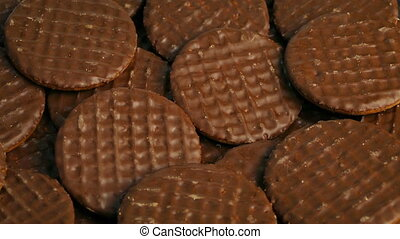 Chocolate Covered Biscuits Rotating - Closeup shot of...