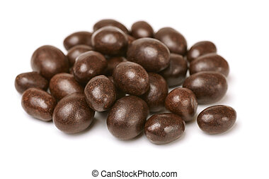 Chocolate covered peanuts isolated on white