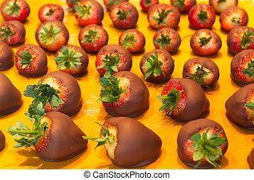 Chocolate Covered Strawberries on Yellow Mat