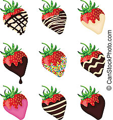 Chocolate covered strawberries - Scalable vectorial image...