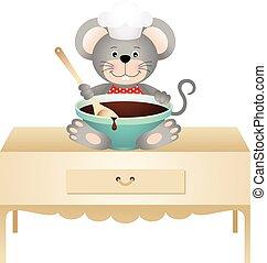 chocolate, cozinheiro, rato, tigela
